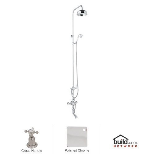Rohl U.KIT3X-APC Perrin and Rowe Shower System with Thermo Valve with 63-Inch Riser Diverter and Cross Handles, Polished Chrome