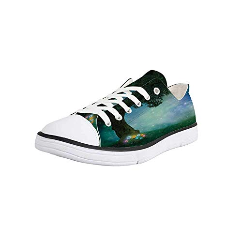Canvas Sneaker Low Top Shoes,Forest Decor,Fairytale Little Red Riding Hood Forest at Night with Flowers and Stars Image Women 9/Man ()