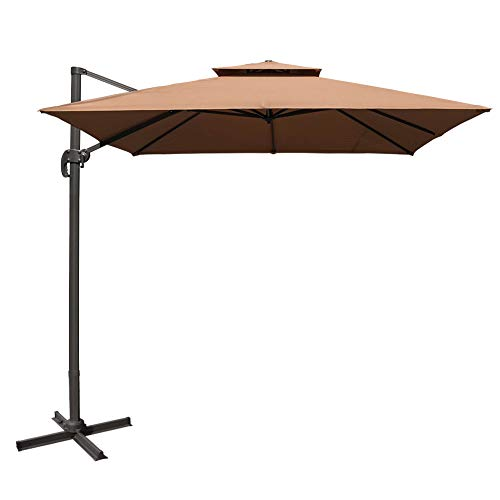 Sundale Outdoor 10ft Square Offset Hanging Umbrella Market Patio Umbrella Aluminum Cantilever Pole w Stylish Dual Wind Vent, Cover, Crank Lift and Corss Frame, 360 Rotation, for Garden,Backyard, Tan
