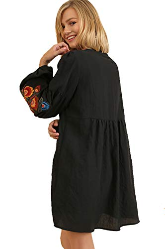 Black Ally's Cute Tunic Embroidered or Tunic Mandy Umgee Dress g6wqfB8