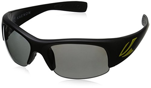 Kaenon Men's Hard Kore Polarized Shield Sunglasses, Matte Black & Yellow Logo, 63 - Logo Sunglasses Luxury Black