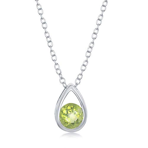 - Sterling Silver Open Pear-shaped 5x5mm Round Blue Topaz 0.8cttw/Amethyst 06.cttw/Peridot 0.65cttw /Garnet 0.78cttw Birthstone Necklace