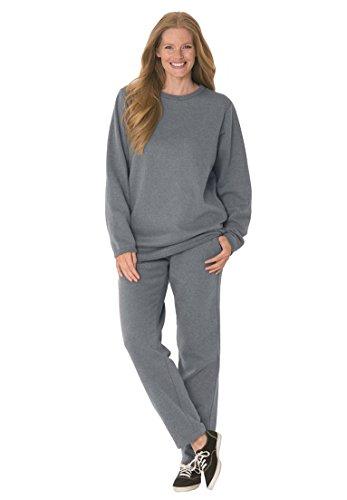 Women's Plus Size Petite Fleece 2-Pc Sweatsuit Medium Hea...