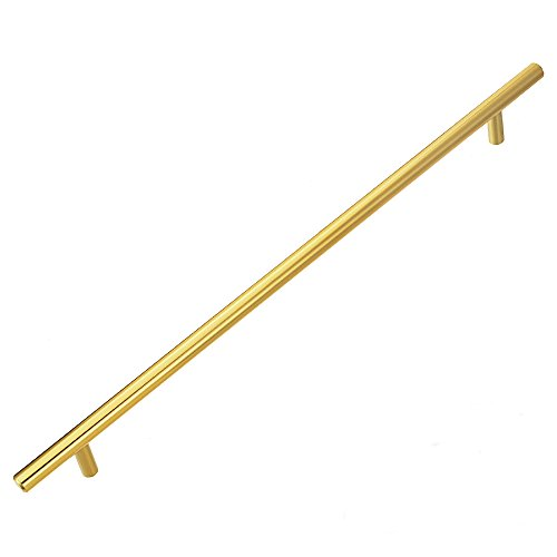Brass Handle Long - Lizavo 701-320BB Brushed Brass Modern Gold Cabinet Pulls Long Solid Euro Style T Bar Kitchen Cabinet Handles- 12-5/8