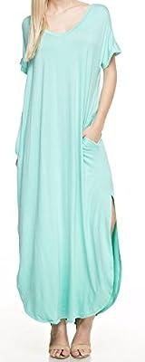 Marilyn & Main Women's Casual Feminine Short Sleeved Pocket Side Slit Maxi Dress