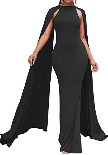 Bodycon4U Women's Elegant Long Mermaid Formal Gown Prom Evening Dresses with Cape Black L