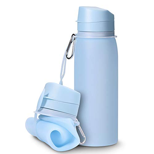 Swethaw Collapsible Water Bottle, 25 oz. Silicone Portable Bottles Foldable Lightweight Leak Proof Outdoor Water Bottles BPA Free for Travel, Sports, Hiking, Camping]()