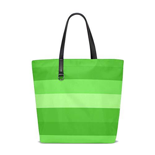 (JTMOVING Women Green Monochrome Hues Shades Banners Bands Lines Handle Satchel Handbags Shoulder Bag Tote Purse Messenger Bags )