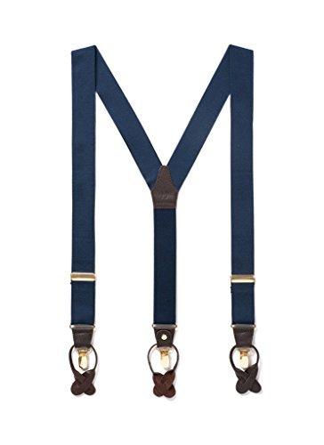 Men-Suspenders-with-Genuine-Leather-Detailing-Classic-Y-Back-Design-Double-Clip-Suspender-Great-for-Casual-Attire-Formal-Attire-Nickel-Plated-Hardware-Clip-On-Button-On-One-Size-Navy