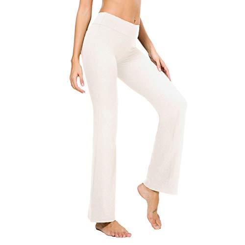 (Bamans Women's Boot Cut Yoga Pants Tummy Control Plus Size Wide Leg 4 Way Stretch Yoga Boot Leg Pants, White L)