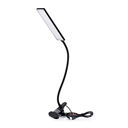 LED Desk Lamp Dimmable Office Home Lamp 14 Level Brightness 3 Color Temperatures 5W LED Reading Light Metal Clip Light USB Powered Flexible Gooseneck Clamp Light, Black