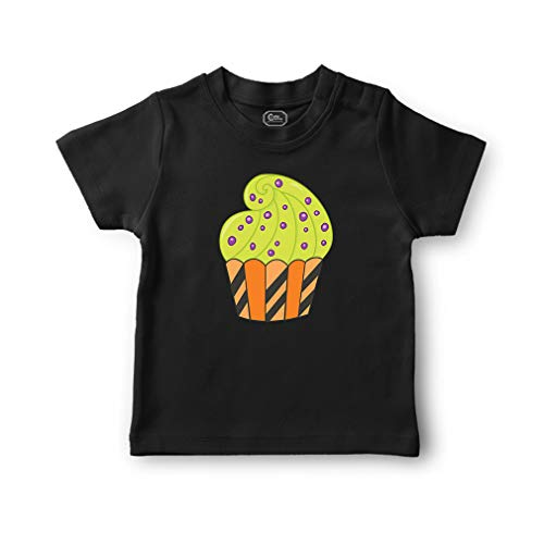 Orange Purple Dots Cupcake Short Sleeve Crewneck Toddler Boys-Girls Cotton T-Shirt Jersey - Black, 4T