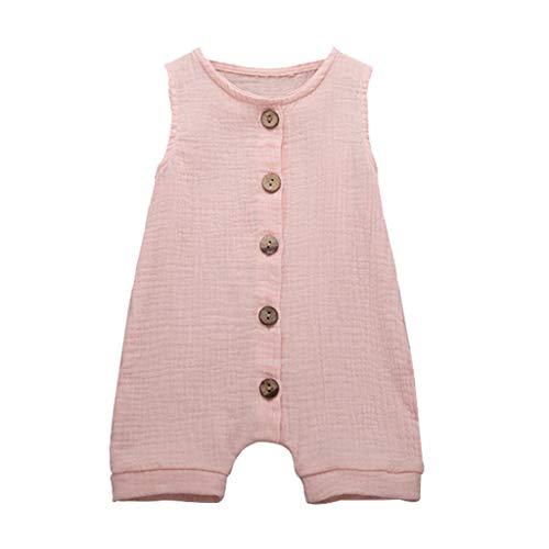 Newborn Baby Boys Girls Romper Jumpsuit Solid Sveless Bodysuit Infant Unisex Summer Clothes Outfits 3M-24M Pink