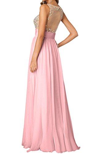 Damen Rundkragen Festkleid Chiffon Steine A amp;Tuell Ivydressing Abendkleid Lang Promkleid Linie Elegant Rosa BwdxCExTq