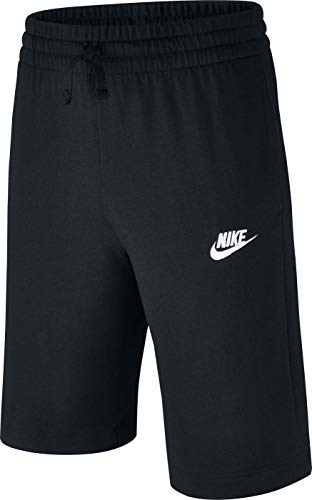 NIKE Sportswear Boys' Jersey Shorts, Black/White, Large
