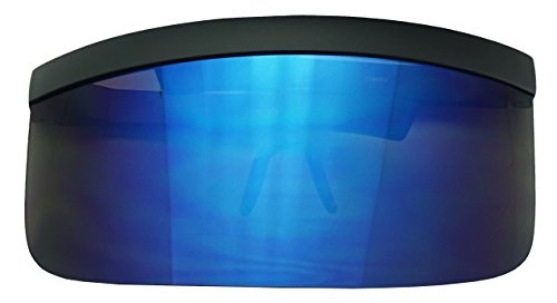 Plastic Visor (Matte Black Retro Futuristic Single Shield Color Oversized Visor Sunglasses (Matte Black, Blue Mirror))