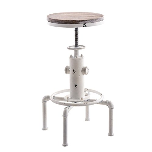 Topower American Antique Vintage Industrial Barstool Solid Wood Water Pipe Fire Hydrant Design Cafe Coffee Industrial Bar Stool (Antique White, 1) ()