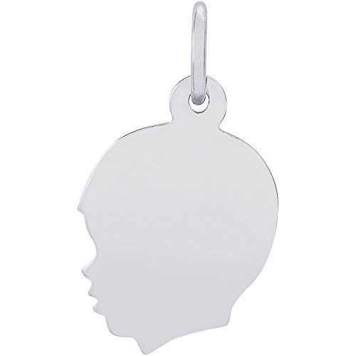 Rembrandt Sterling Silver Boys Head Charm (13 x 14 mm)