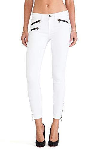 Rag and Bone Jeans Intermix Skinny Triple Zipper Moto Pants 31 White (Intermix Clothing)