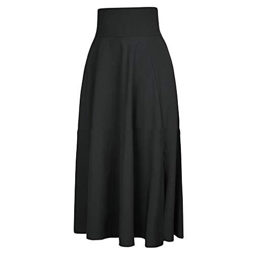 Jupe plisse Maxi fendus Femmes Haute Taille Ceinture Poche Jupe Longue Noir Solide Fighting wZYBqq