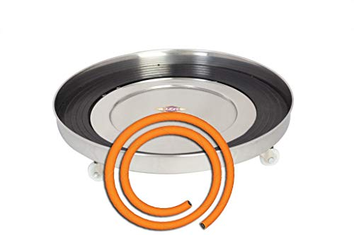 Hazel Gas Cylinder Trolley with Rollers, Stainless Steel, Silver +Prestige LPG Hose Pipe
