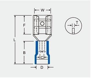 Heschen Female Quick Disconnects vinile isolato 2.8/x 0.5/mm cavo terminale per 0.5/ rosso 100/pezzi /1.5/mm/² 22//–/16/AWG