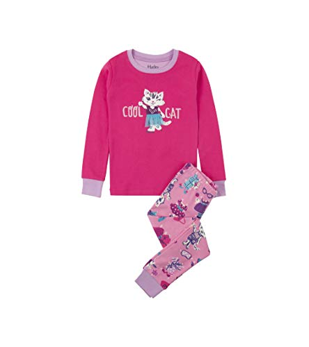 - Hatley Girls' Big Organic Cotton Long Sleeve Appliqué Pajama Sets, Cool cat 7 Years