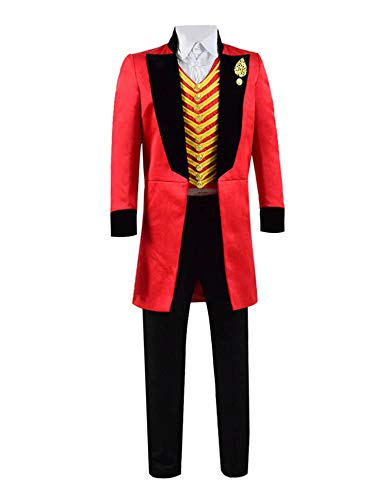 Qi Pao Kids Greatest Showman Barnum Performance Uniform Halloween Outfit Cosplay Costume (Little Boys 4T, Red Black) ()