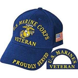 - JumpingLight Marines Marine Corps EGA Veteran Vet Proudly Served Blue Embroidered Cap Hat for Home, Official Party, All Weather Indoors Outdoors