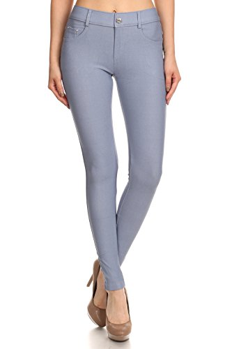 Slate Blue Full Leg - ICONOFLASH Women's Jeggings - Pull On Slimming Cotton Jean Like Leggings (Slate Gray, Large)