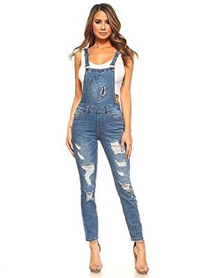 Monkey Ride Jeans Women's Distressed Stretch Twill Denim Overalls