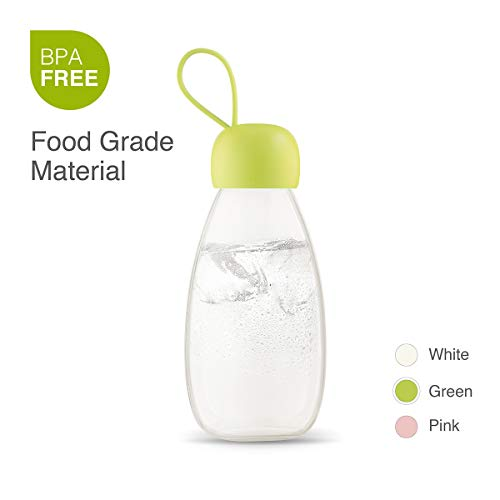 emoi 12 oz Kids Water Bottle, Cute BPA Free Insulated Fruit Flower Tea Leakproof Drink Bottles for Students, Outdoor Sports, Picnic, Camping, Tritan Eco Friendly PCTG, Wide Mouth, Hand Strap.(H1140G) (Lexan Water Bottle)