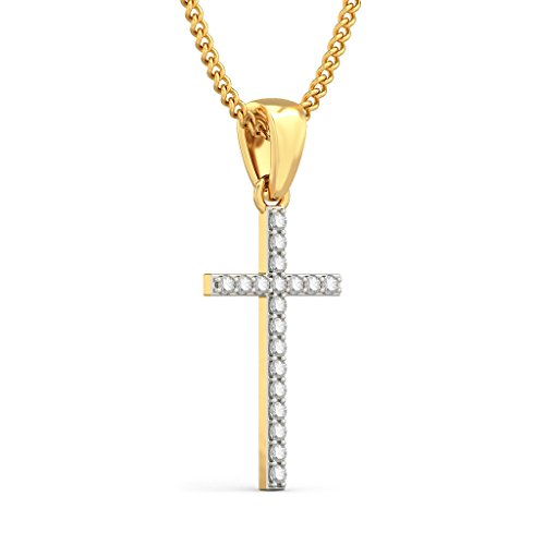 14 K Or jaune 0.23 CT TW Round-cut-diamond (IJ | SI) Pendentif