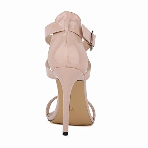 Tacón tacón de alto tobillo Verano Zapatos HooH Beige Correa Hebilla Sandalias Toe Mujer de 2 Peep 5qw8aOx8