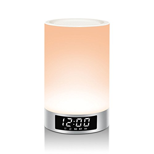 LIGHTSTORY LED Bedside Lamp, Silver Color Touch Control Table Music Lamp, Portable Bluetooth Speaker LED Night Light