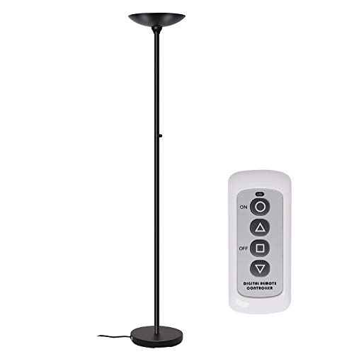 Floor Lamps, SUNLLIPE LED Floor Lamp with Remote Control 24W, Dimmable Modern Tall Standing Pole Uplight Torchiere Light for Living Room, Bedrooms, Office, Jet ()