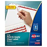 Avery Print & Apply Clear Label Dividers with Index Maker Easy Apply Printable Label Strip and White Tabs, 8-Tab, Box of 50 Sets