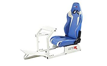 GTR Simulator GTA-WHT-S105LBLWHT GTA Model White Frame with Blue White Real Racing Seat, Driving Simulator Cockpit Gaming Chair with Gear Shifter Mount