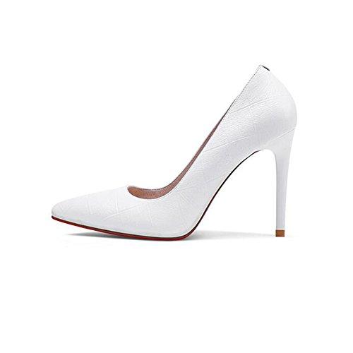 à Hauts EU37 Hauts Bouche Cuir Chaussures Taille en Talons 5 Professionnels UK4 Profonde Blanc Femme 5 Peu Blanc Chaussures Couleur Talons Chaussures avec des Fines Noir Talons CJC gqYwIzE