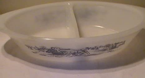 Divided Oval Vegetable Bowl by Glasbake