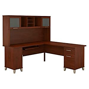 Bush Furniture Somerset L Shaped Desk with Hutch, 72W, Hansen Cherry