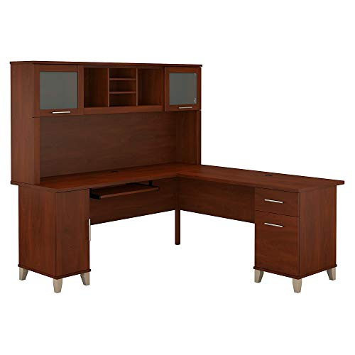 (Bush Furniture Somerset 71W L Shaped Desk with Hutch in Hansen Cherry)