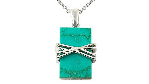 (Sterling Silver Rectangular Turquoise Pendant)