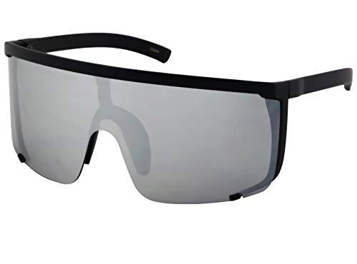 Elite Unisex Oversized Super Shield Mirrored Lens Sunglasses Retro Flat Top Matte Black Frame (Silver Mirror) (Top Mens Sunglasses)
