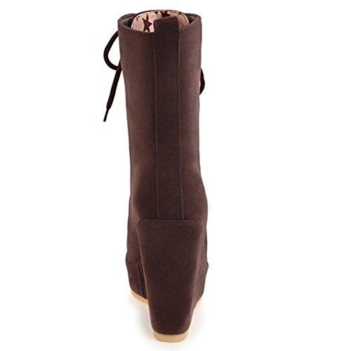 Stringate Donna Alto Tacco Scarpe Stivali Moda TAOFFEN Brown Zeppa nUTq0HBxC