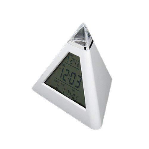 TrifyCore 7 Colori LED Che Cambia Forma di Piramide termometro del Calendario della Sveglia Digitale 3xAAA Bianco