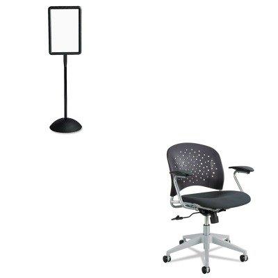 KITSAF4117BLSAF6803BL - Value Kit - Safco Rve Series Task Chair (SAF6803BL) and Safco Double Sided Sign (SAF4117BL)