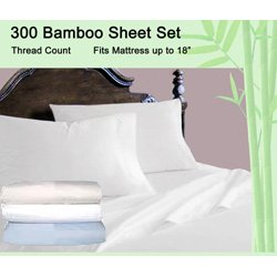 Luxury Bamboo Bed Sheet Set, Queen Size In Light Blue