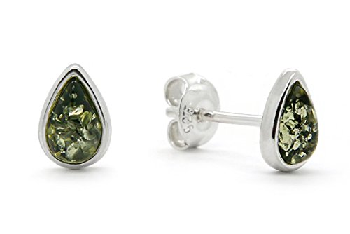 Sterling Silver Genuine Green (925 Sterling Silver Drop Stud Earrings with Genuine Natural Baltic Green Amber.)