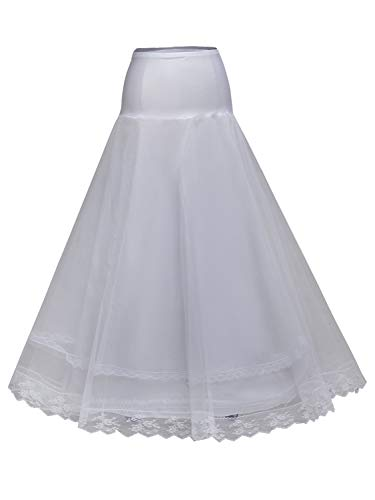 MisShow Women's Floor Length Petticoat Crinoline Underskirts for Wedding Dress,White -